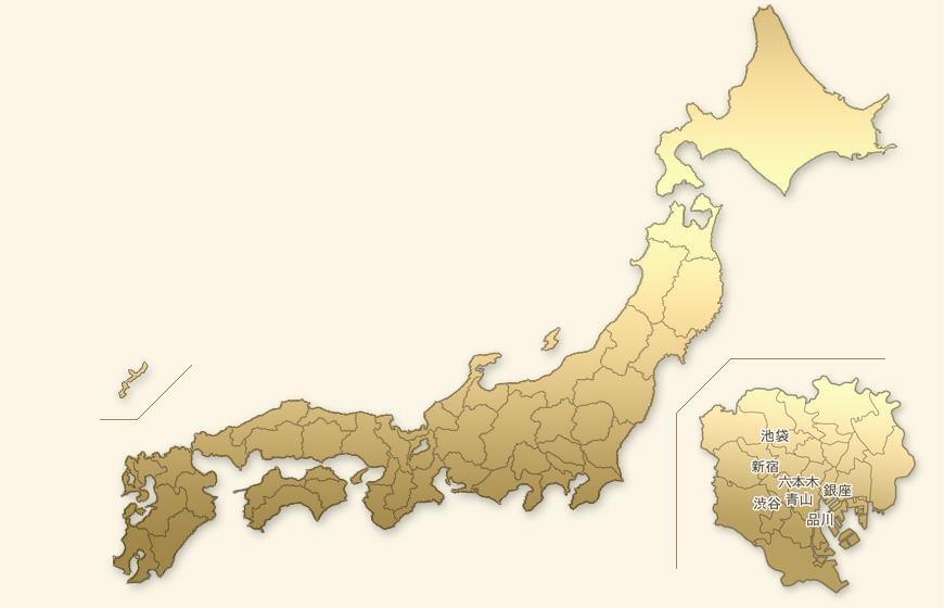 都道府県地図から高級デリヘル店を探す